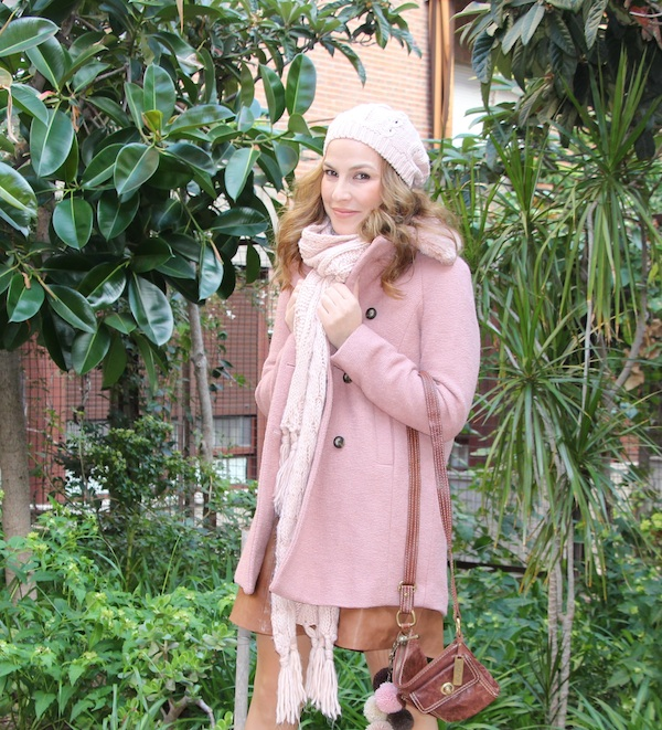 rosa, cuadros, leather skirt, falda cuero,, outfit, winter, invierno