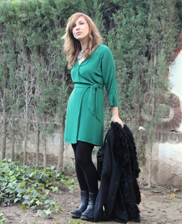 lookbook, outfit, Vestido verde, green dress