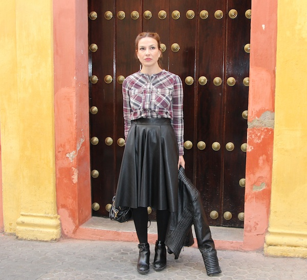 leather, skirt, falda de cuero, Zara, Mango, Bimba&Lola